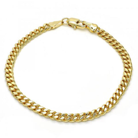 Gold Layered 04.63.1359.08 Basic Bracelet, Miami Cuban Design, Polished Finish, Golden Tone