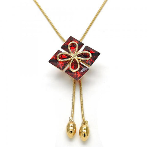 Gold Layered 04.26.0033.22 Fancy Necklace, Flower Design, with Garnet Cubic Zirconia, Polished Finish, Golden Tone