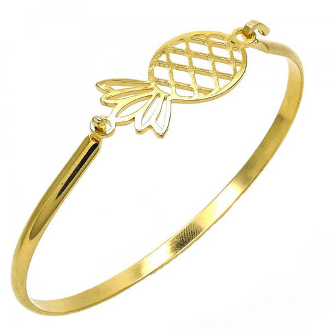 Stainless Steel 07.110.0016.05 Individual Bangle, Pineapple Design, Polished Finish, Golden Tone (04 MM Thickness, Size 5 - 2.50 Diameter)