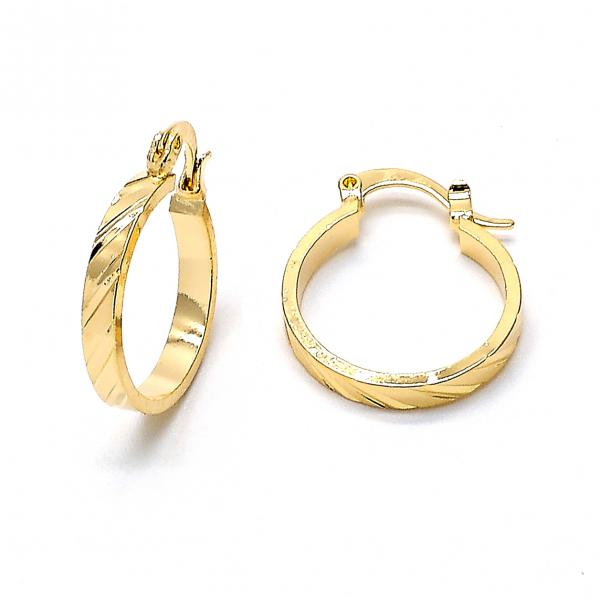 Gold Layered 02.122.0031 Small Hoop, Diamond Cutting Finish, Golden Tone