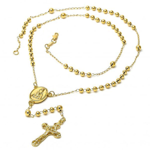 Gold Layered 5.214.007.3 Medium Rosary, Altagracia and Crucifix Design, Polished Finish, Golden Tone
