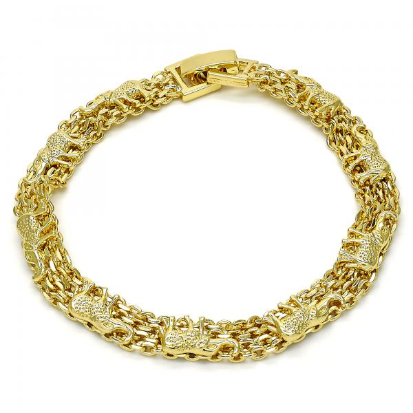 Gold Layered 03.213.0041.08 Fancy Bracelet, Elephant Design, Polished Finish, Golden Tone