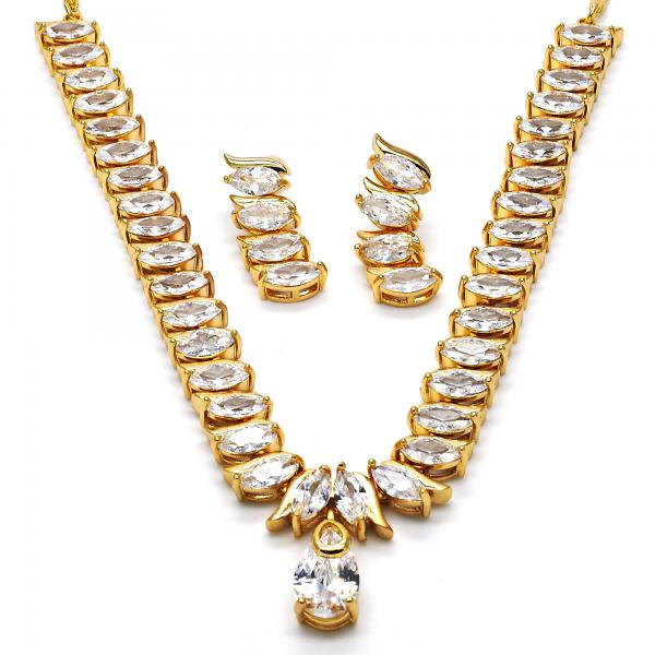 Gold Layered Necklace and Earring, Teardrop and Leaf Design, with Cubic Zirconia, Golden Tone