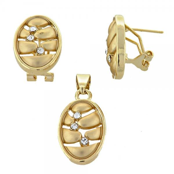 Gold Layered 5.053.002 Earring and Pendant Adult Set, with Golden Crystal, Matte Finish, Golden Tone