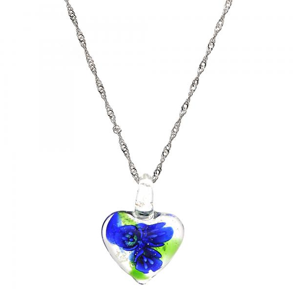 Gold Tone 04.276.0011.18.GT Fancy Necklace, Heart and Flower Design, with Sapphire Blue Azavache, Polished Finish, Rhodium Tone