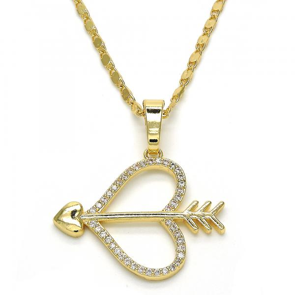 Gold Layered 04.296.0002.18 Fancy Necklace, Heart Design, with White Micro Pave, Polished Finish, Golden Tone