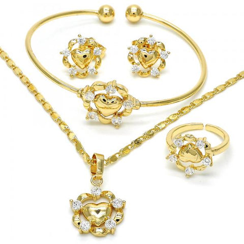 Gold Layered 06.329.0002 Earring and Pendant Children Set, Heart Design, with White Cubic Zirconia, Polished Finish, Golden Tone