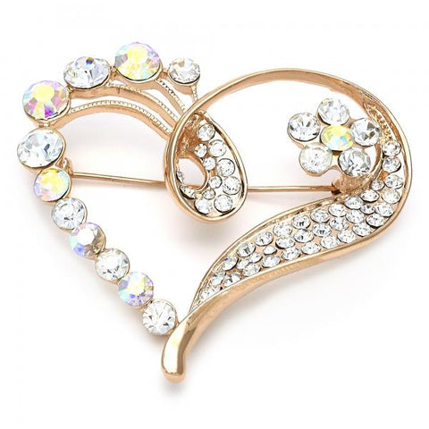 Gold Layered 13.181.0010 Basic Brooche, Heart and Flower Design, with Multicolor Crystal, Polished Finish, Golden Tone