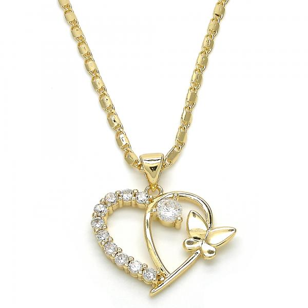 Gold Layered 04.195.0014.20 Fancy Necklace, Heart and Butterfly Design, with White Cubic Zirconia, Polished Finish, Golden Tone