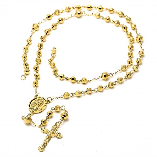 Gold Layered 5.216.001.1.30 Large Rosary, Crucifix and Guadalupe Design, Diamond Cutting Finish, Golden Tone