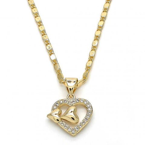 Gold Layered 04.195.0036.20 Fancy Necklace, Heart Design, with White Micro Pave, Polished Finish, Golden Tone