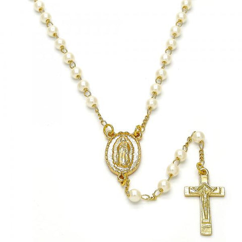Gold Layered 09.253.0002.22 Thin Rosary, Guadalupe and Crucifix Design, with Ivory Pearl, Polished Finish, Golden Tone
