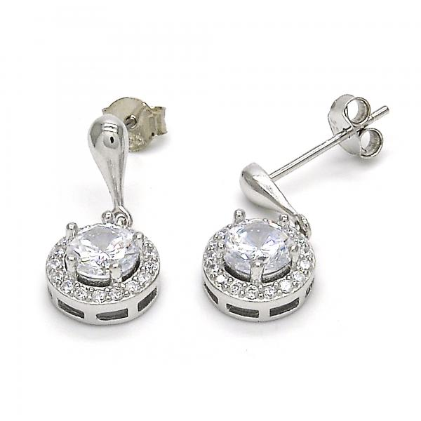 Sterling Silver 02.286.0020 Dangle Earring, with White Cubic Zirconia, Polished Finish,