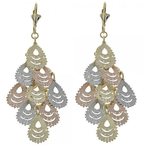 Gold Layered 5.109.003 Chandelier Earring, Filigree Design, Diamond Cutting Finish, Tri Tone