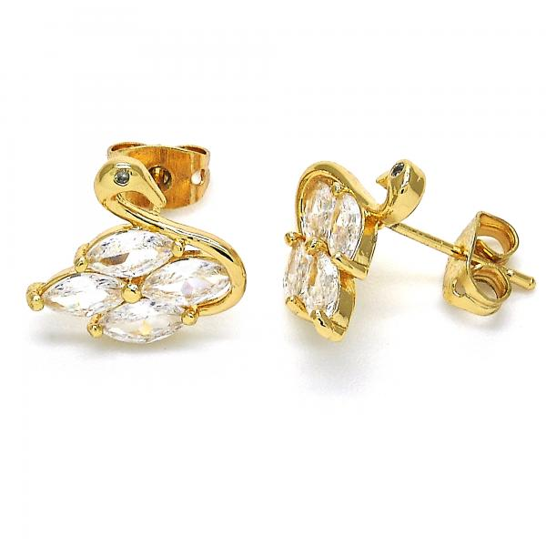 Gold Layered 02.213.0130 Stud Earring, Swan Design, with White Cubic Zirconia, Polished Finish, Golden Tone