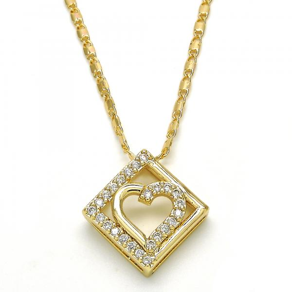Gold Layered 04.166.0002.20 Fancy Necklace, Heart Design, with White Cubic Zirconia, Polished Finish, Golden Tone