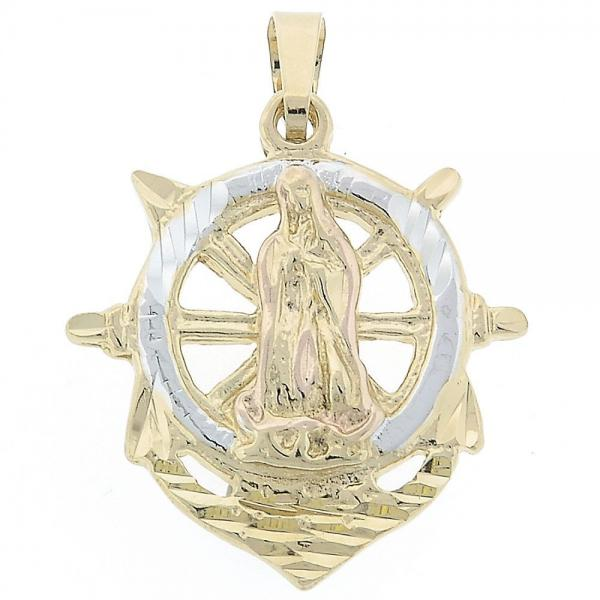 Gold Layered 5.186.008 Religious Pendant, Virgen Maria and Anchor Design, Diamond Cutting Finish, Tri Tone