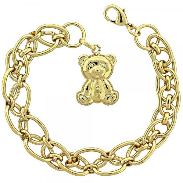 Gold Layered 5.004.008 Fancy Bracelet, Teddy Bear Design, Polished Finish, Golden Tone