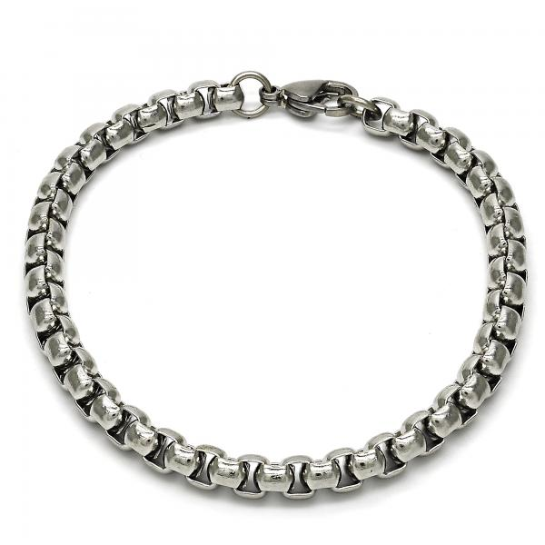 Stainless Steel 03.256.0007.09 Basic Bracelet, Box Design, Polished Finish, Steel Tone