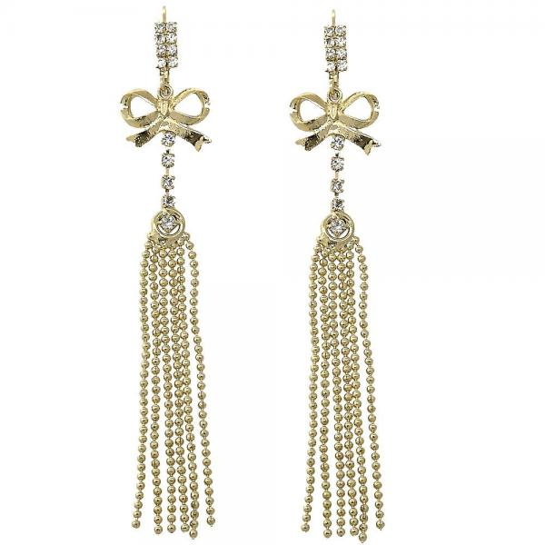 Gold Layered 5.066.004 Long Earring, Bow Design, with White Cubic Zirconia, Polished Finish, Golden Tone