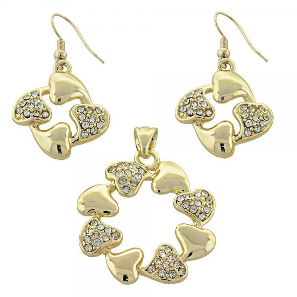 Gold Layered 10.59.0126 Earring and Pendant Adult Set, Heart Design, with White Crystal, Polished Finish, Golden Tone