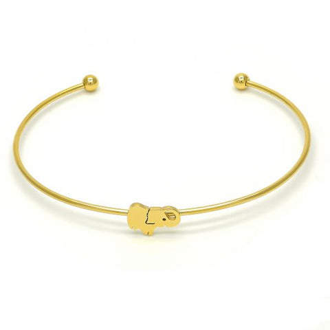 Stainless Steel 07.265.0013 Individual Bangle, Elephant Design, Polished Finish, Golden Tone (01 MM Thickness, One size fits all)