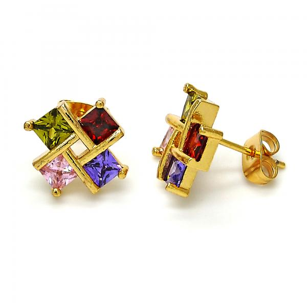 Gold Layered 02.210.0060 Stud Earring, with White Cubic Zirconia, Polished Finish, Golden Tone