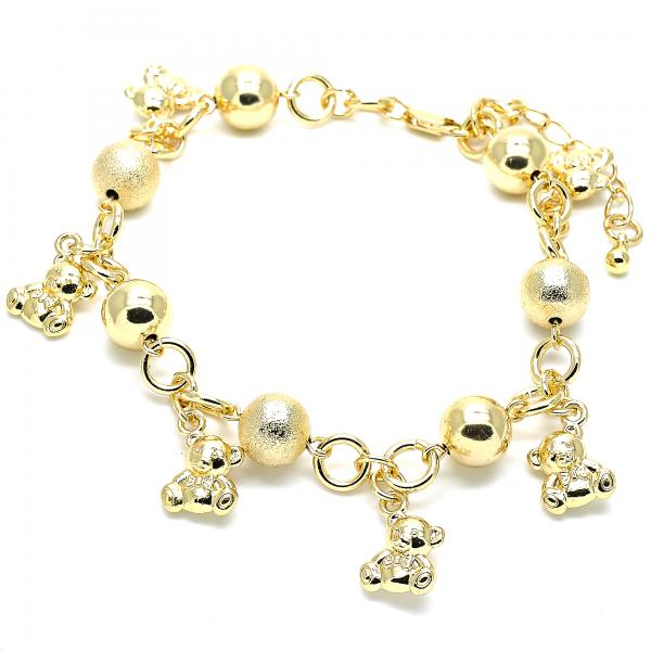Gold Layered 03.179.0055.10 Charm Anklet , Teddy Bear Design, Matte Finish, Golden Tone