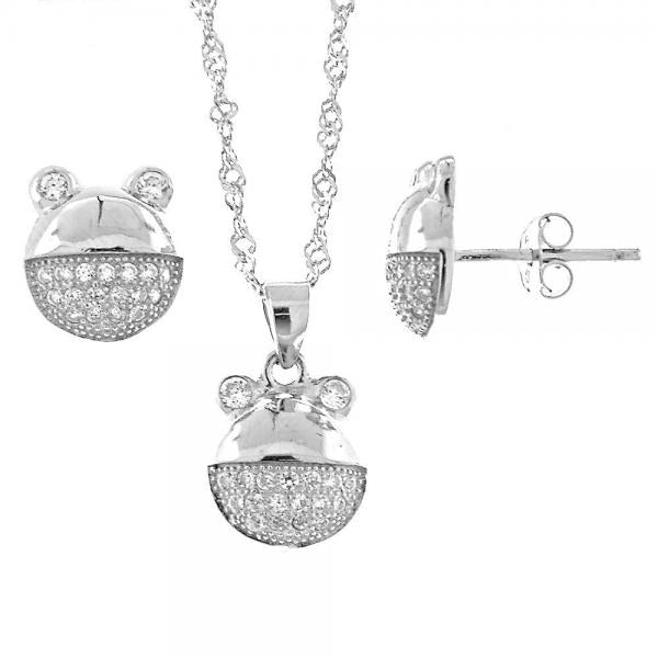 Sterling Silver 10.174.0047 Earring and Pendant Adult Set, Teddy Bear Design, with White Micro Pave, Rhodium Tone