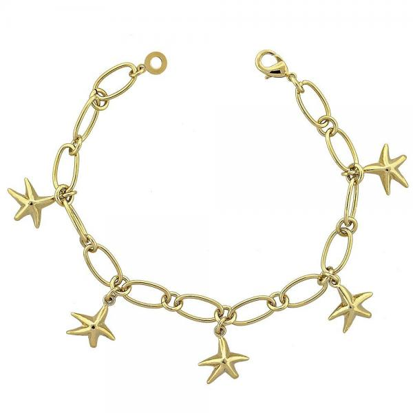 Gold Layered 5.022.006 Charm Bracelet, Star Design, Diamond Cutting Finish, Golden Tone