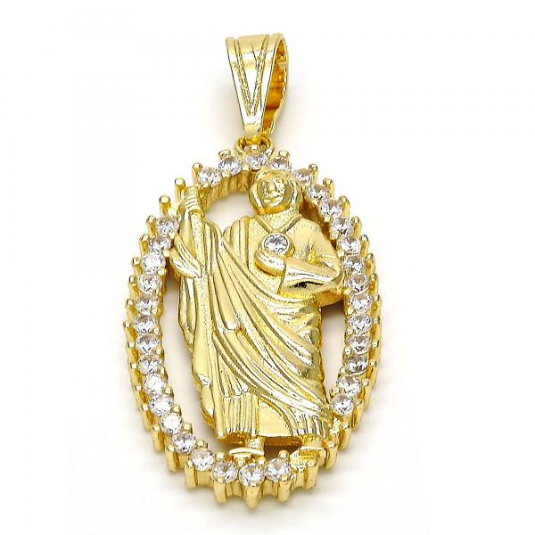 Gold Layered 05.120.0063 Religious Pendant, San Judas Design, with White Cubic Zirconia, Polished Finish, Golden Tone