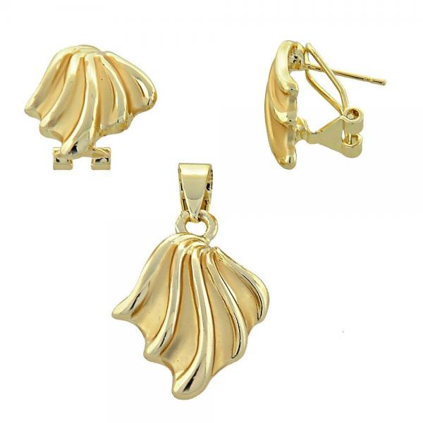 Gold Layered 10.59.0139 Earring and Pendant Adult Set, Matte Finish, Golden Tone