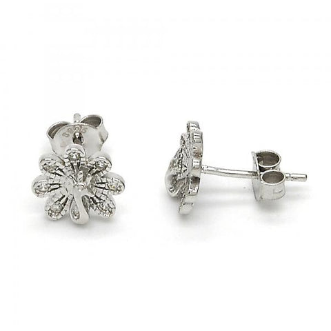 Sterling Silver 02.292.0009 Stud Earring, Peacock Design, with White Micro Pave, Polished Finish, Rhodium Tone