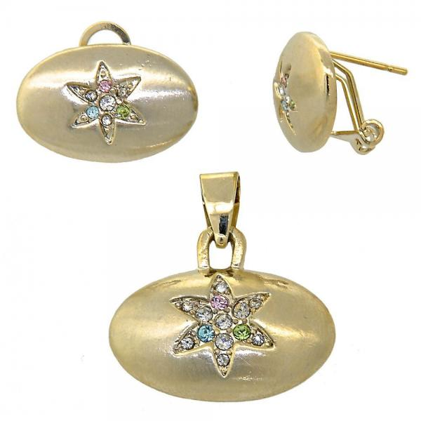Gold Layered 10.63.0199 Earring and Pendant Adult Set, with  Crystal, Golden Tone
