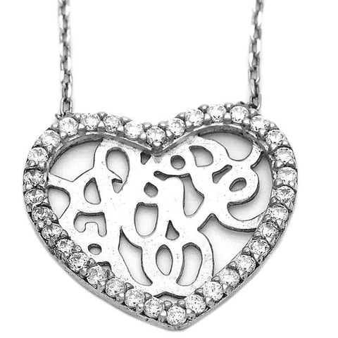 Sterling Silver 10.174.0175.18 Fancy Necklace, Heart Design, with White Crystal, Polished Finish, Silver Tone