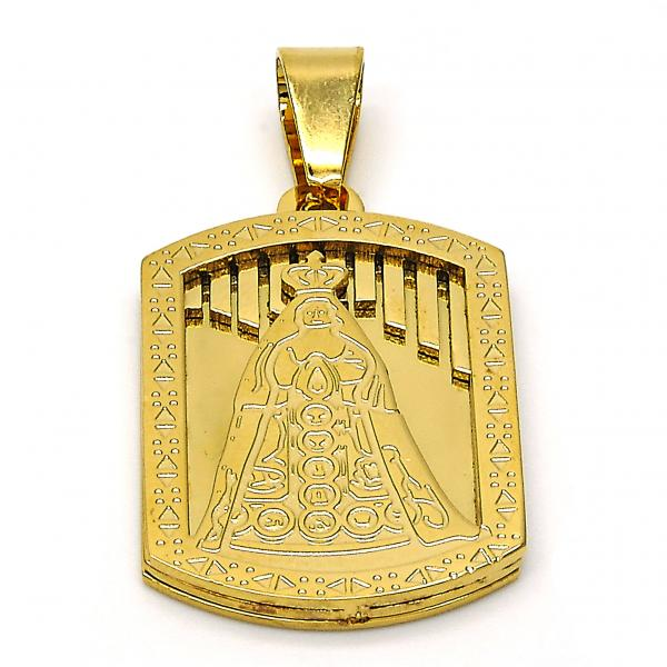 Stainless Steel 05.116.0042 Religious Pendant, Caridad del Cobre Design, Polished Finish, Golden Tone