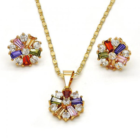 Gold Layered 10.210.0007 Earring and Pendant Adult Set, Flower Design, with Multicolor Cubic Zirconia, Polished Finish, Golden Tone