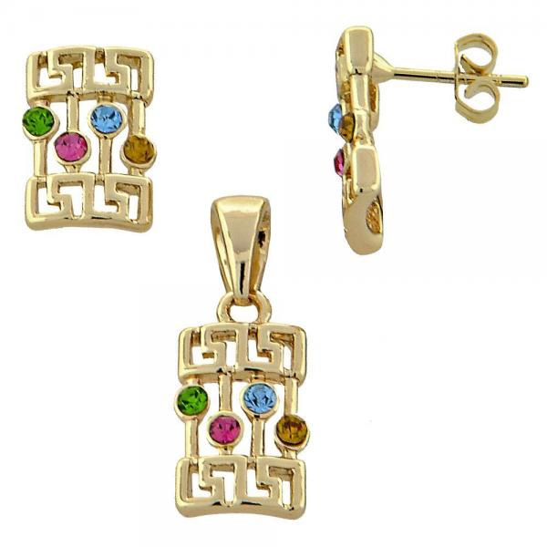 Gold Layered 5.052.011 Earring and Pendant Adult Set, Greek Key Design, with  Crystal, Golden Tone