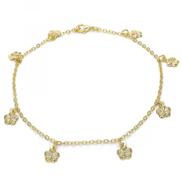 Gold Layered 03.63.1852.10 Charm Anklet , Flower Design, Polished Finish, Golden Tone