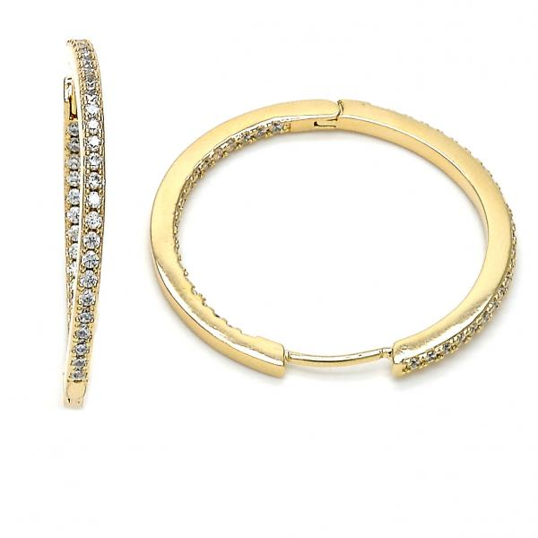 Gold Layered 02.167.0001.30 Huggie Hoop, with White Micro Pave, Polished Finish, Gold Tone