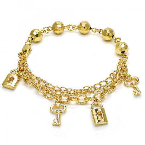 Gold Layered 03.179.0042.07 Charm Bracelet, Lock and key Design, Polished Finish, Golden Tone
