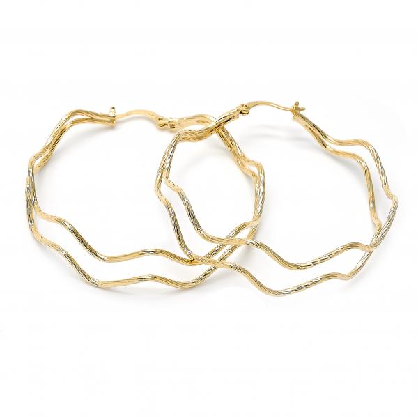 Gold Layered 5.145.031 Large Hoop, Diamond Cutting Finish, Golden Tone