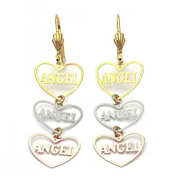 Gold Layered 5.113.017 Long Earring, Heart and Angel Design, Polished Finish, Tri Tone
