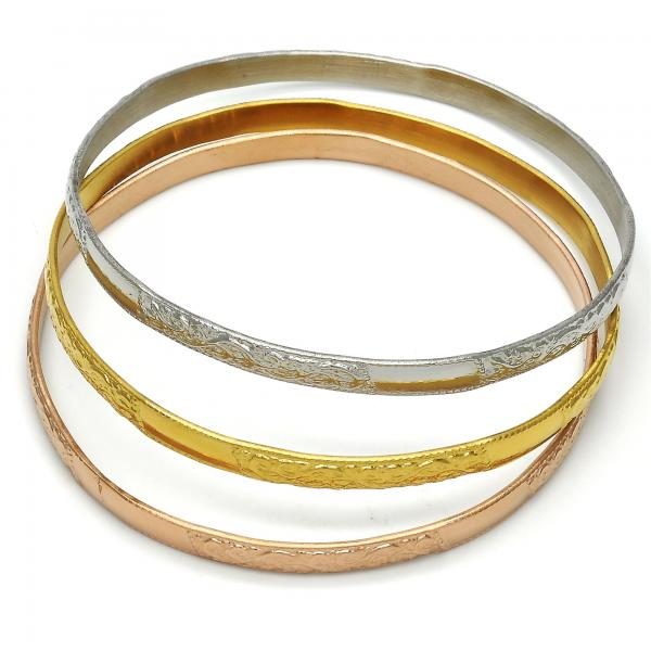 Stainless Steel 07.244.0002.06 Trio Bangle, Leaf Design, Polished Finish, Tri Tone (05 MM Thickness, Size 6 - 2.75 Diameter)