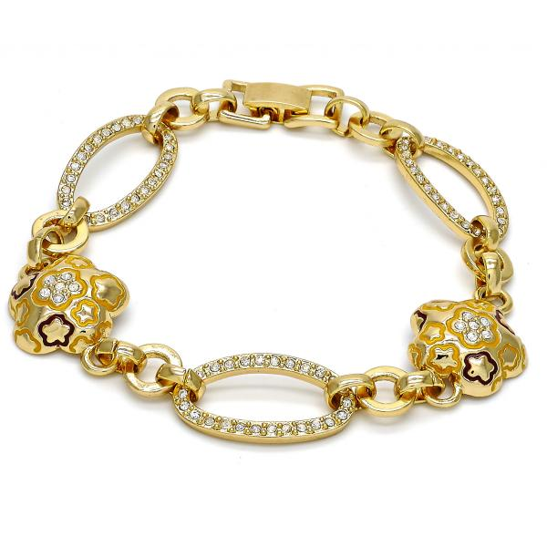 Gold Layered 03.59.0069.08 Fancy Bracelet, Flower and Star Design, with White Crystal, Multicolor Enamel Finish, Golden Tone