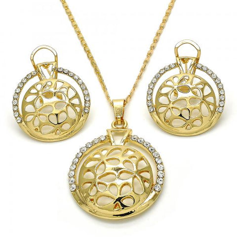 Gold Layered 10.306.0018 Earring and Pendant Adult Set, with White Crystal, Polished Finish, Golden Tone
