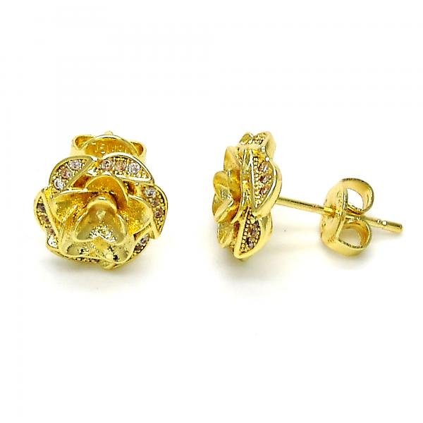 Gold Layered 02.195.0030 Stud Earring, Flower Design, with White Micro Pave, Polished Finish, Golden Tone
