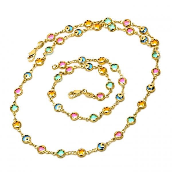 Gold Layered 04.63.1188 Necklace and Anklet, Heart and Star Design, with Multicolor Crystal, Polished Finish, Golden Tone