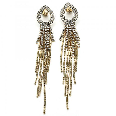 Gold Layered 02.268.0067 Long Earring, Teardrop Design, with White Crystal, Polished Finish, Golden Tone
