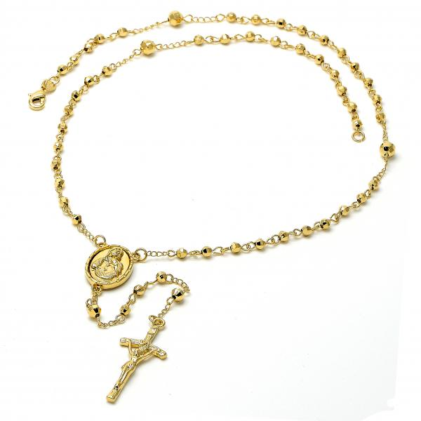 Gold Layered 5.204.002.1.24 Medium Rosary, Sagrado Corazon de Maria and Crucifix Design, Polished Finish, Golden Tone